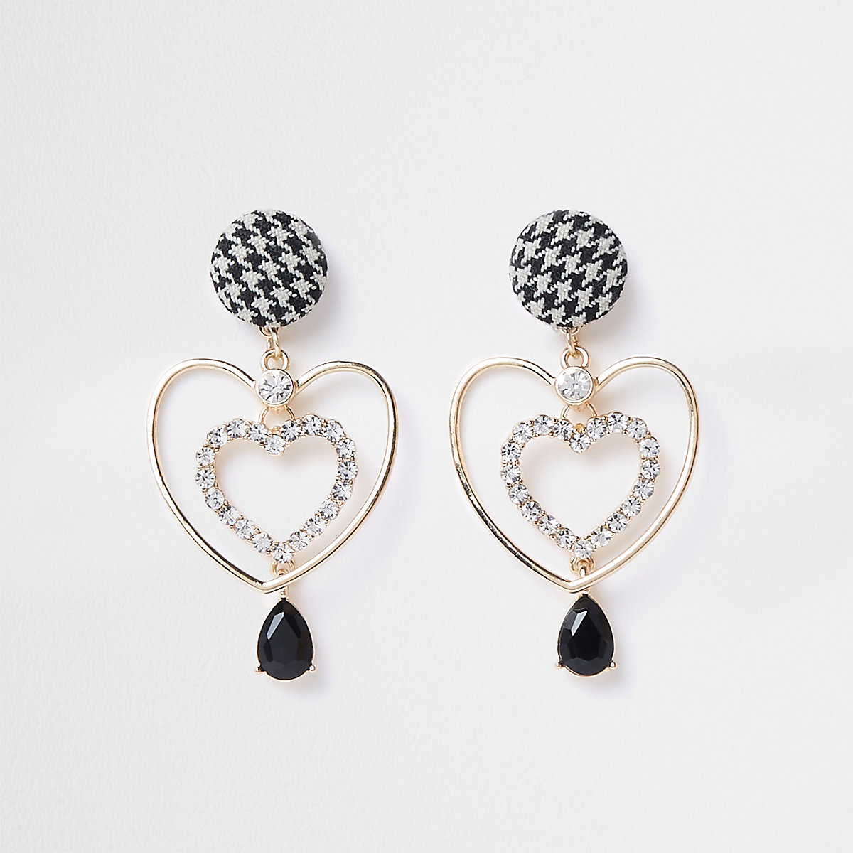 Gold tone tweed heart drop earrings