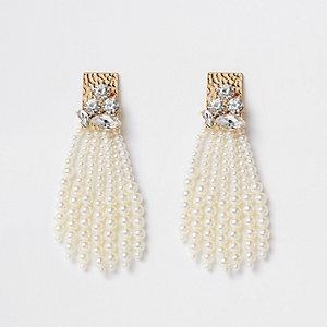 Boucles d'oreilles dorées avec perles façon pampilles