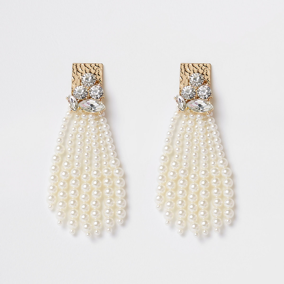 Gold tone faux pearl tassel stud earrings