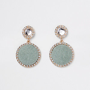 Light green gold tone circle drop earrings