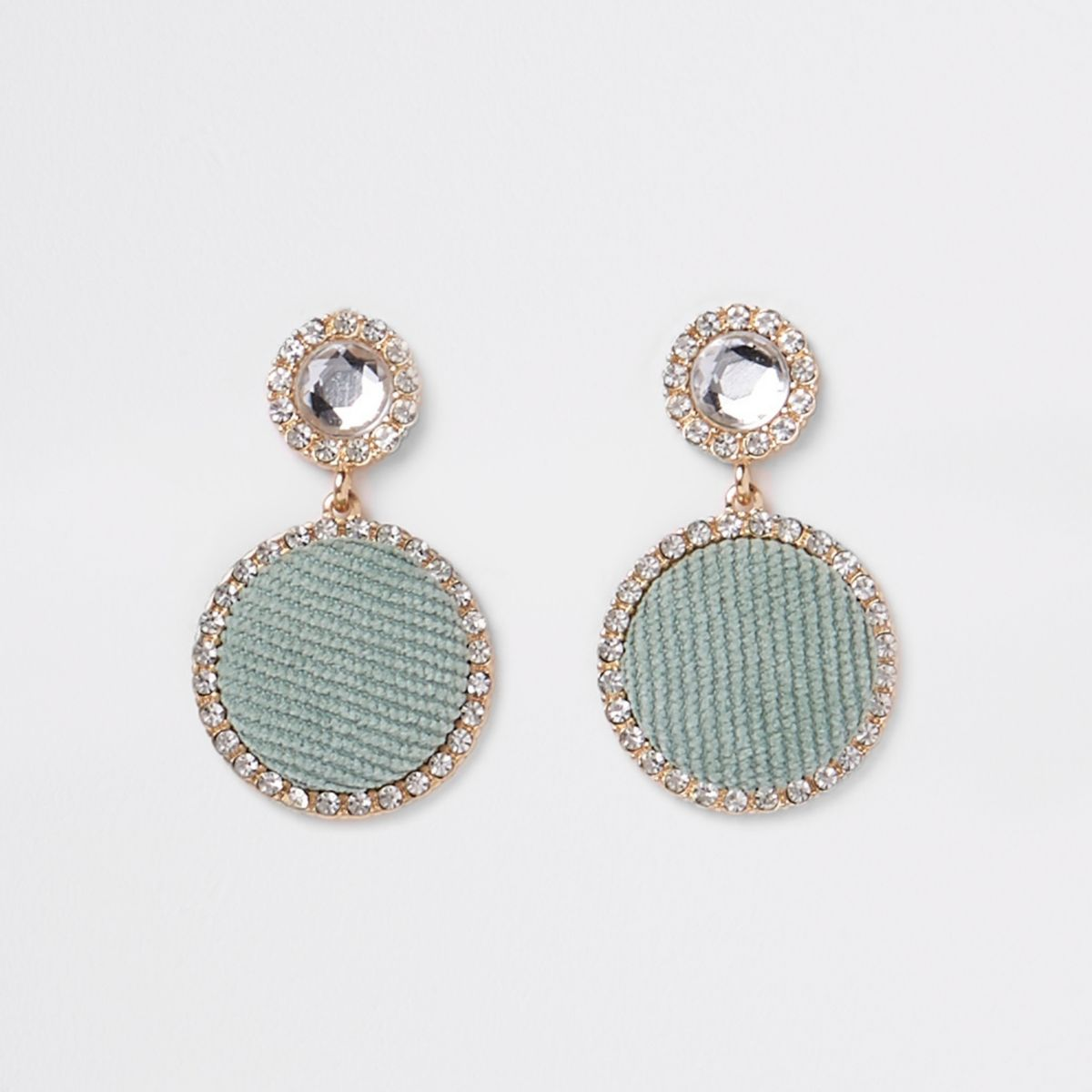Light green gold tone circle drop earrings