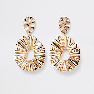 Gold tone ridged oval hoop drop earrings