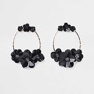 Black gold tone circle sequin hoop earrings