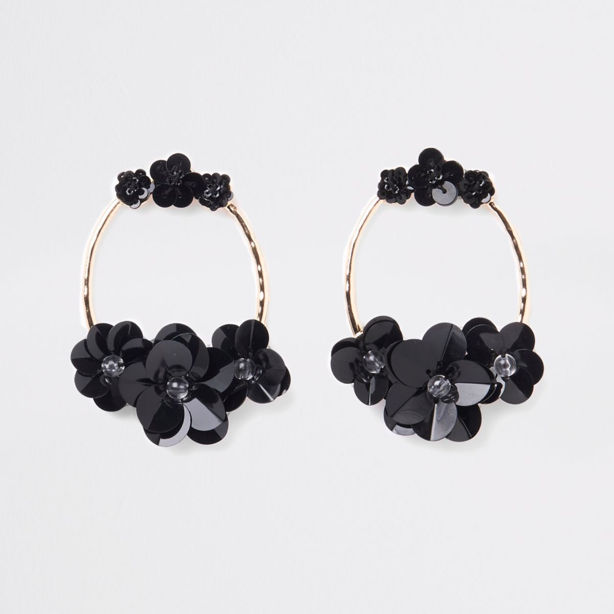 Black gold tone circle sequin hoop earrings