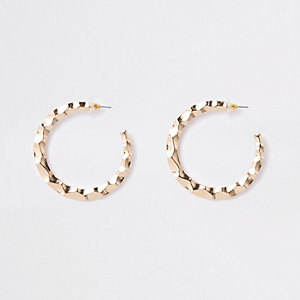 Gold tone large flat hoop earrings
