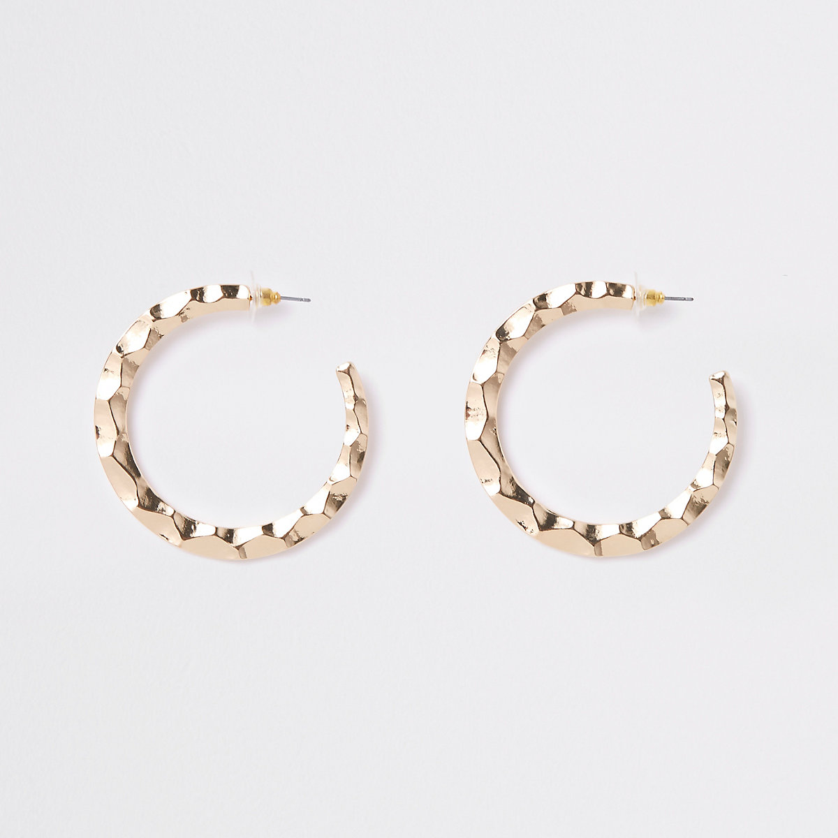 Gold tone large flat hoop earrings