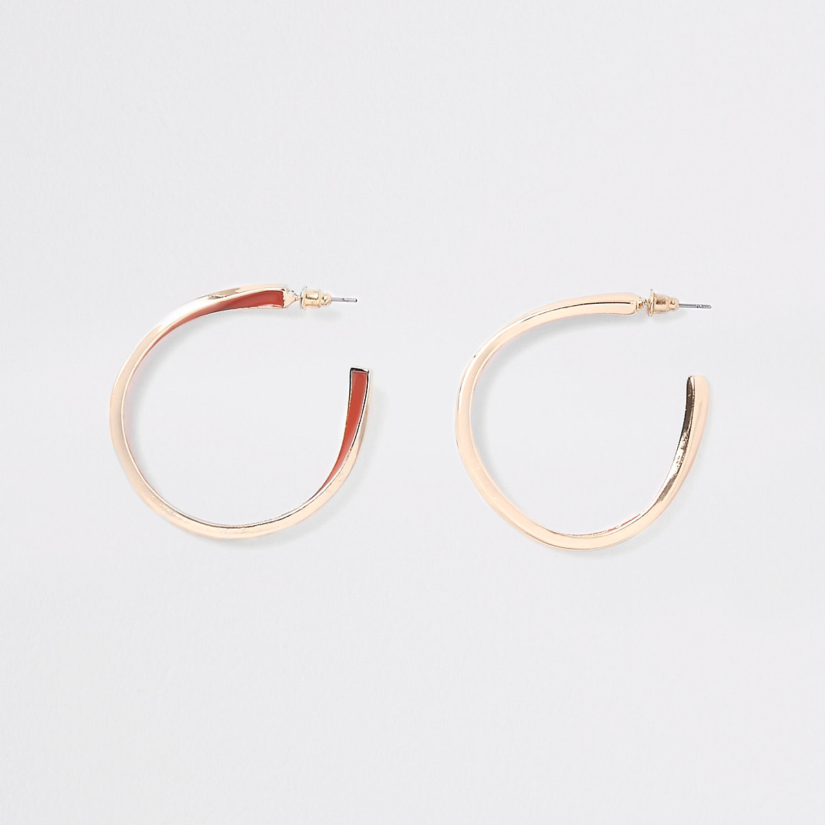 Gold tone orange enamel inlay hoop earrings