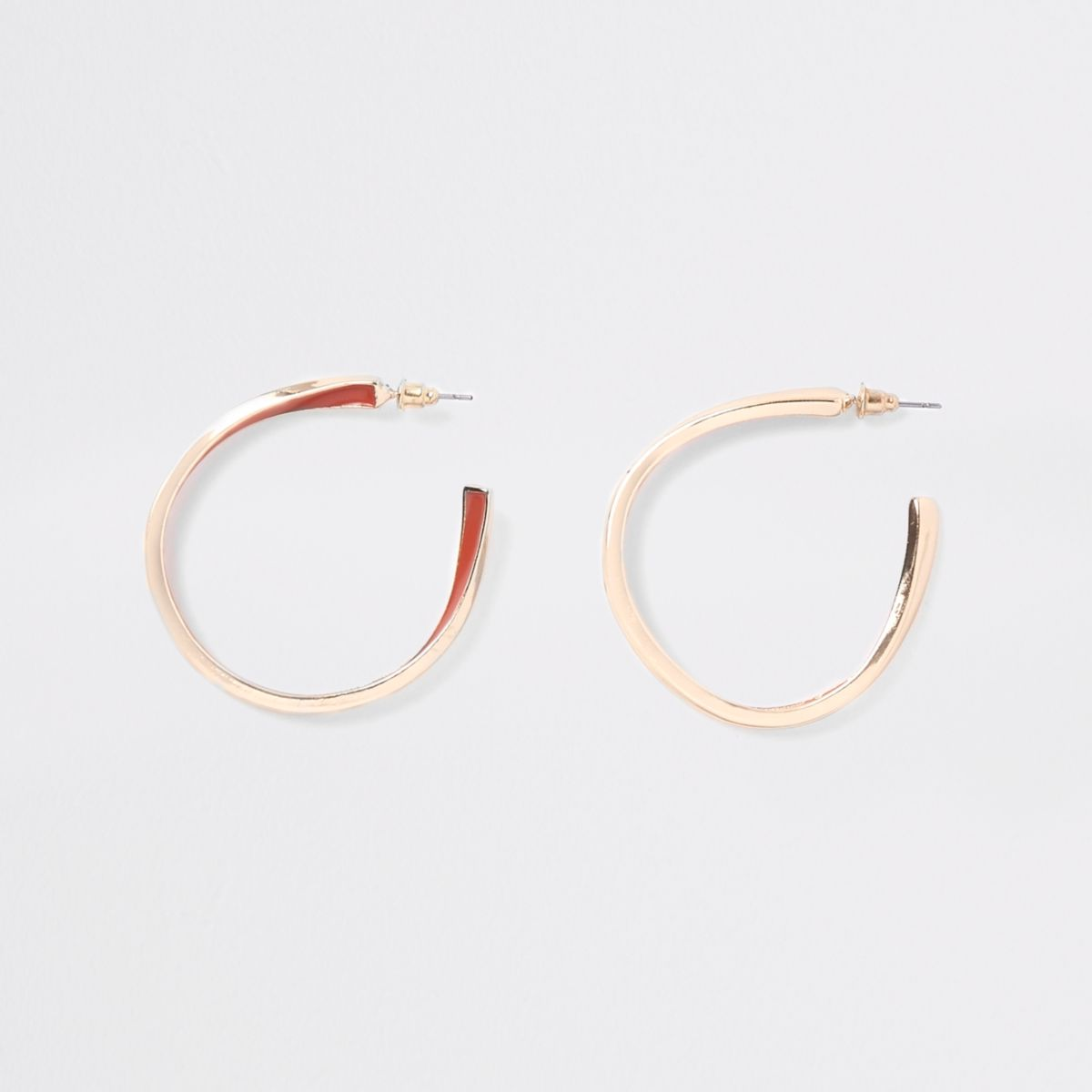 Gold tone orange enamel inlay hoop earrings