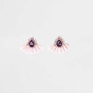 Clous d'oreilles éventail en acrylique rose