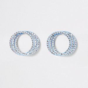 Blue diamante triple ring stud earrings