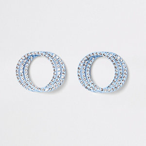 Blue rhinestone triple ring stud earrings