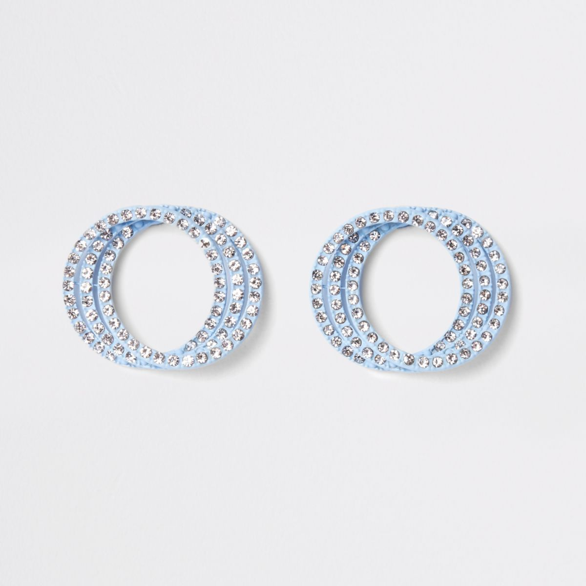 Blue diamante triple ring stud earrings