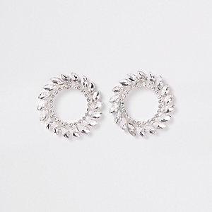 Silver tone jewel reef stud earrings