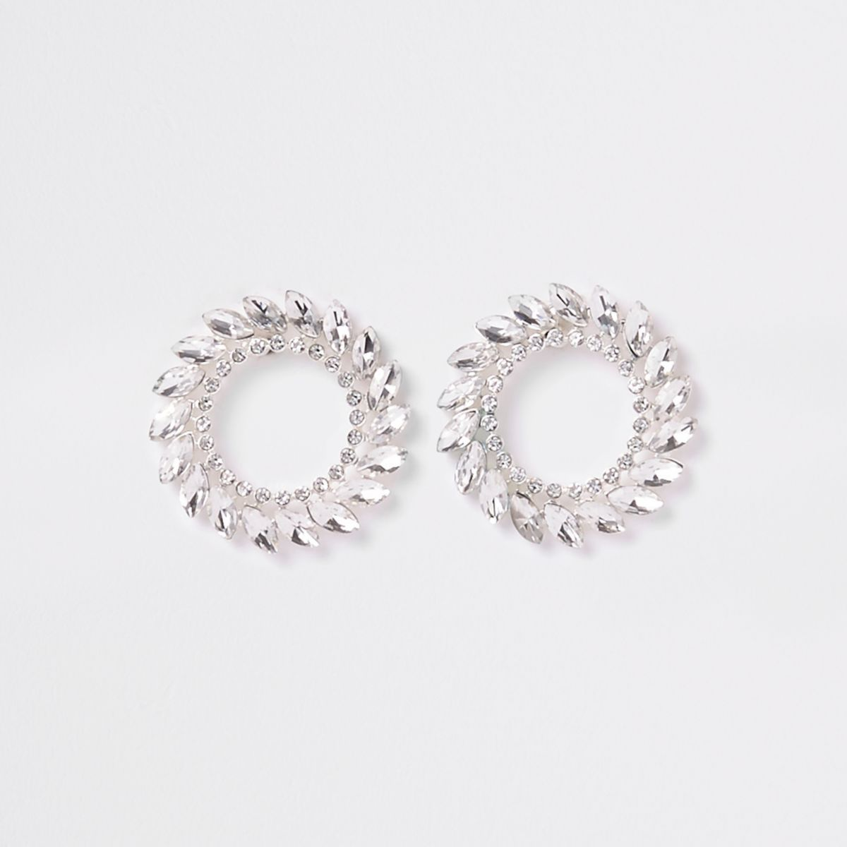 Silver tone jewel reef stud earrings
