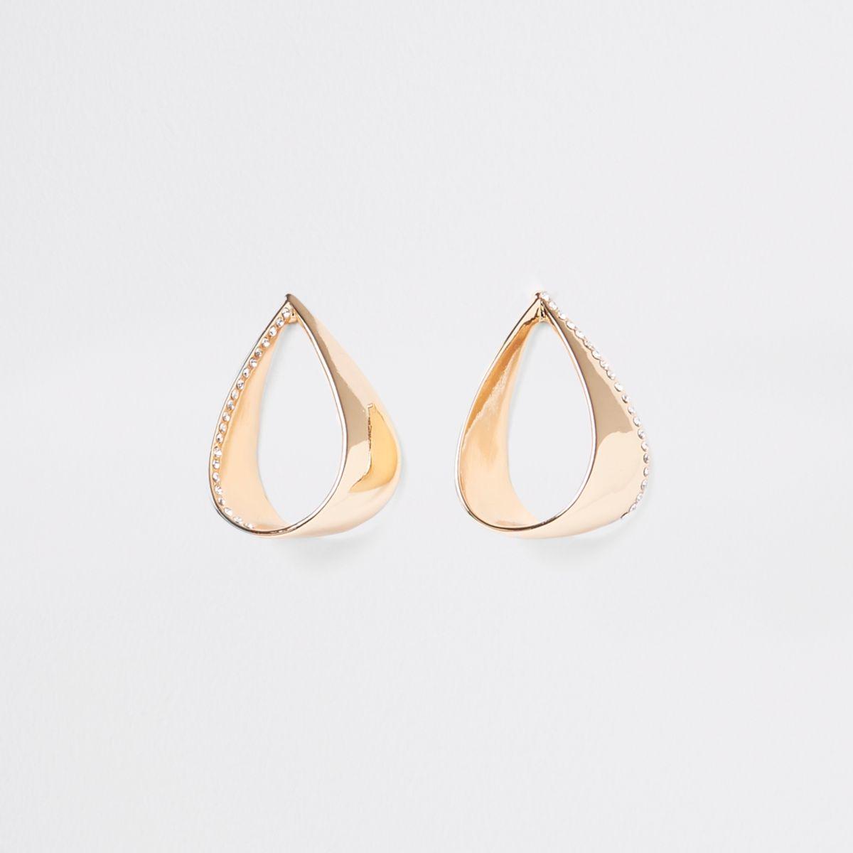 Gold tone rhinestone loop drop earrings