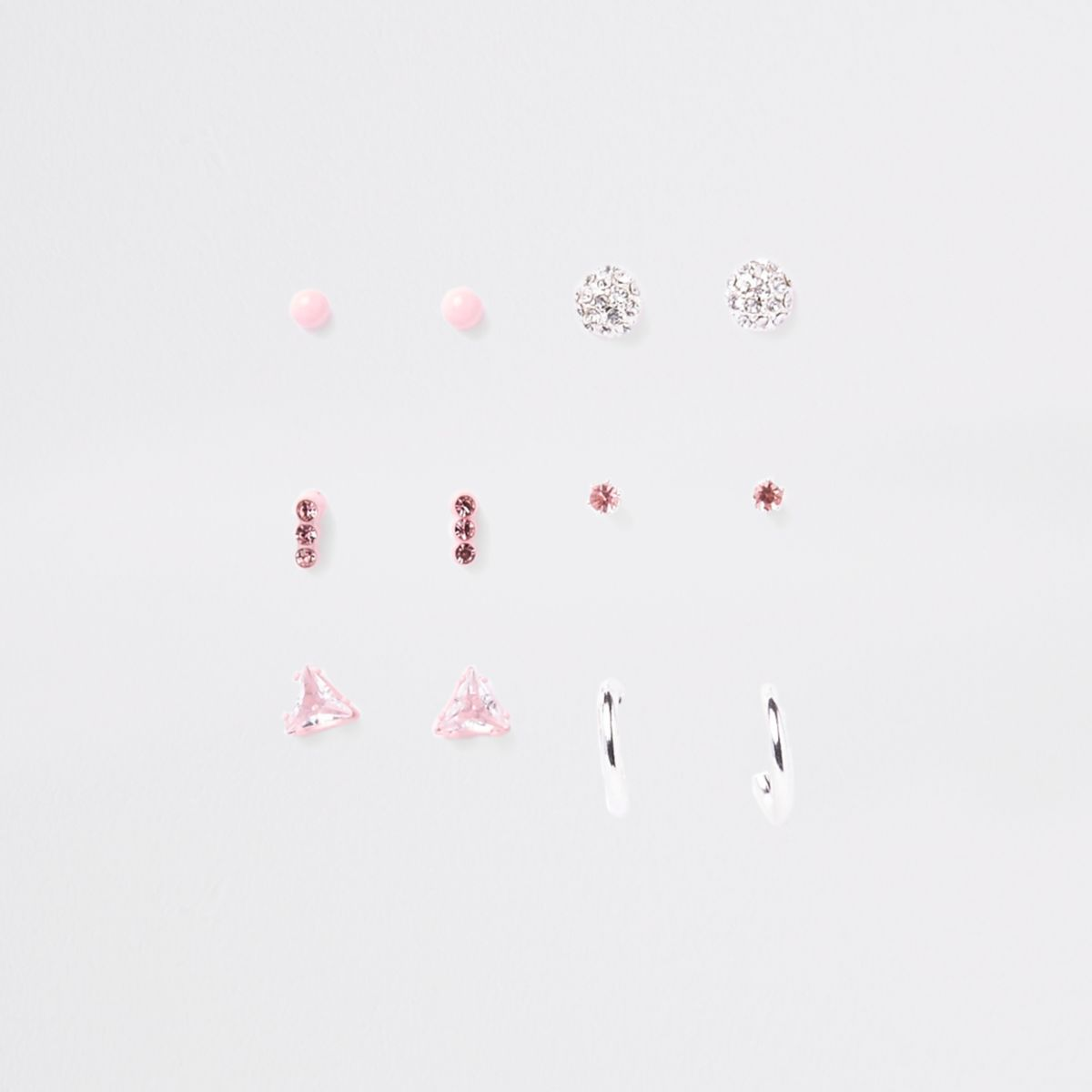 Pink silver tone earring multipack