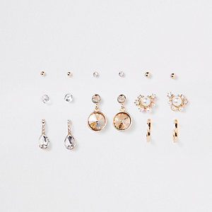 Gold tone pearl embellished earrings pack
