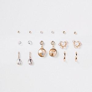 Goldfarbene Ohrringe mit Perlenverzierung im Set
