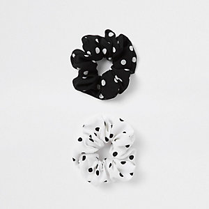 Zwarte scrunchie met stippen