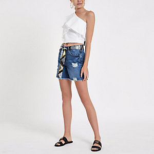 Blue belted boyfriend denim shorts