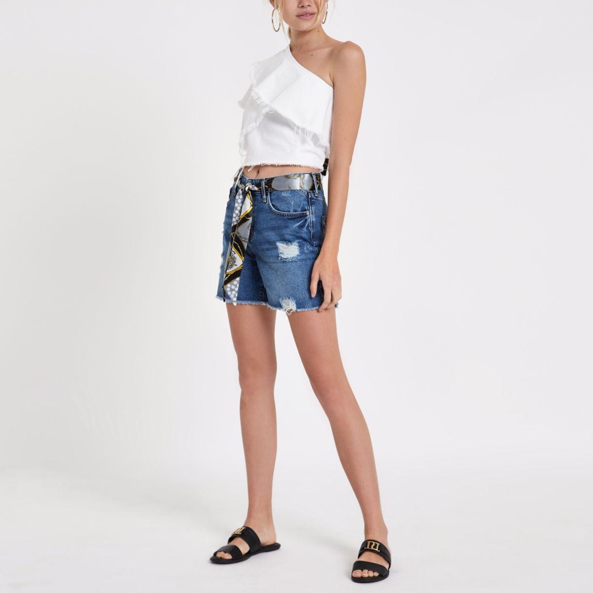 Blue belted boyfriend denim shorts