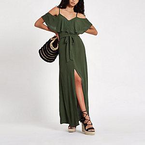 Khaki cold shoulder maxi dress