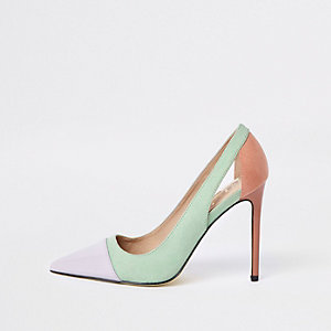 Green color block pumps