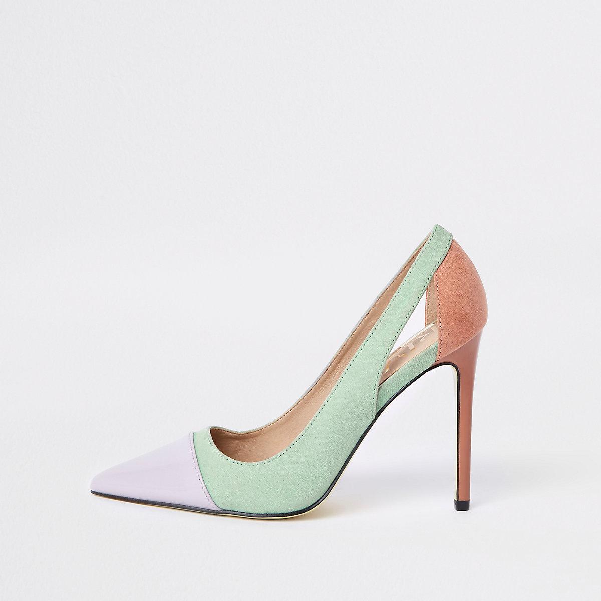 Green colour block court shoes