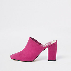 Pink block heel mule sandals