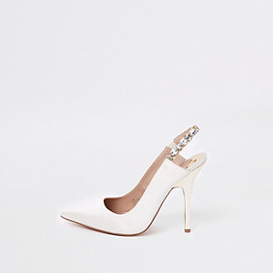 White thin heel sling back pumps