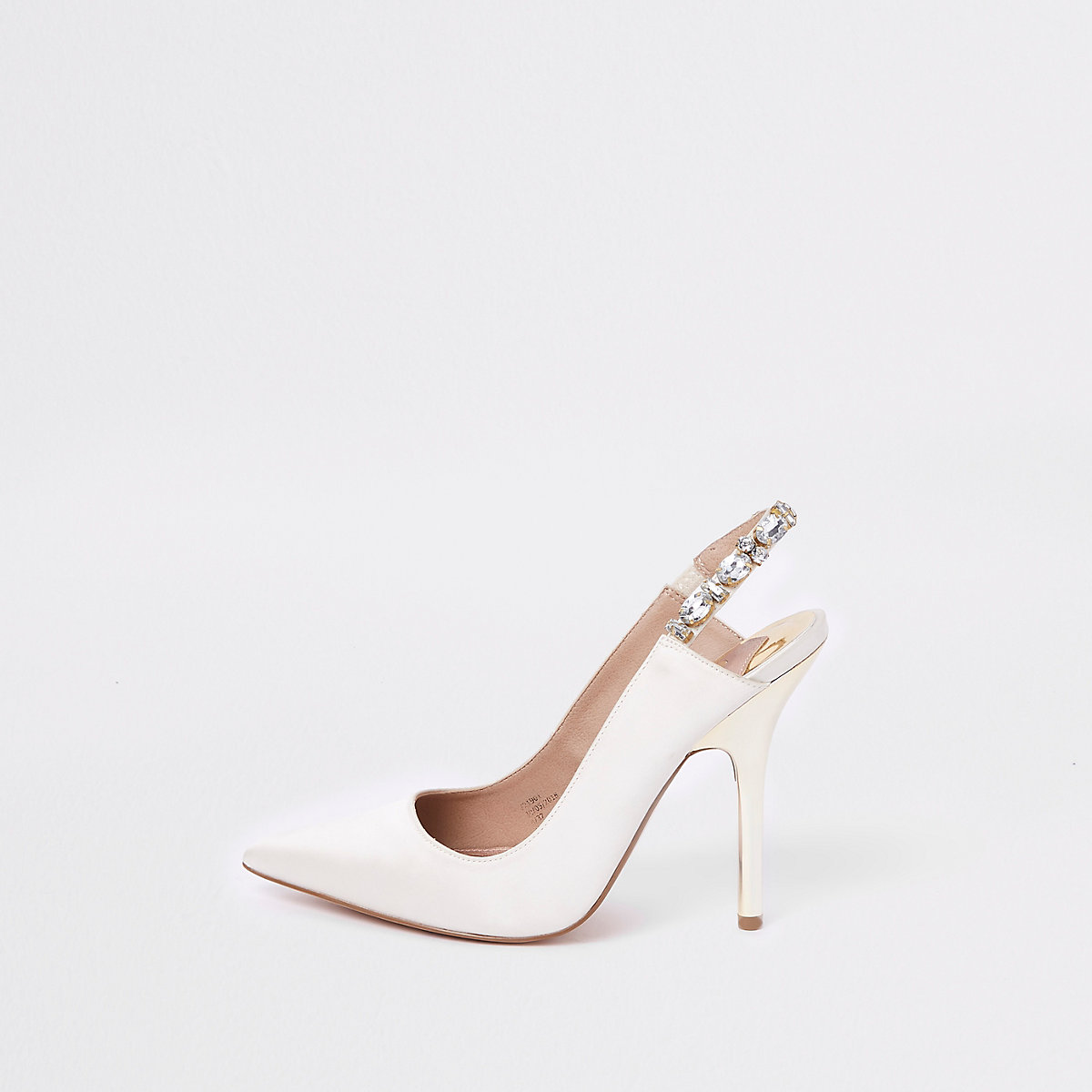 White thin heel sling back court shoes