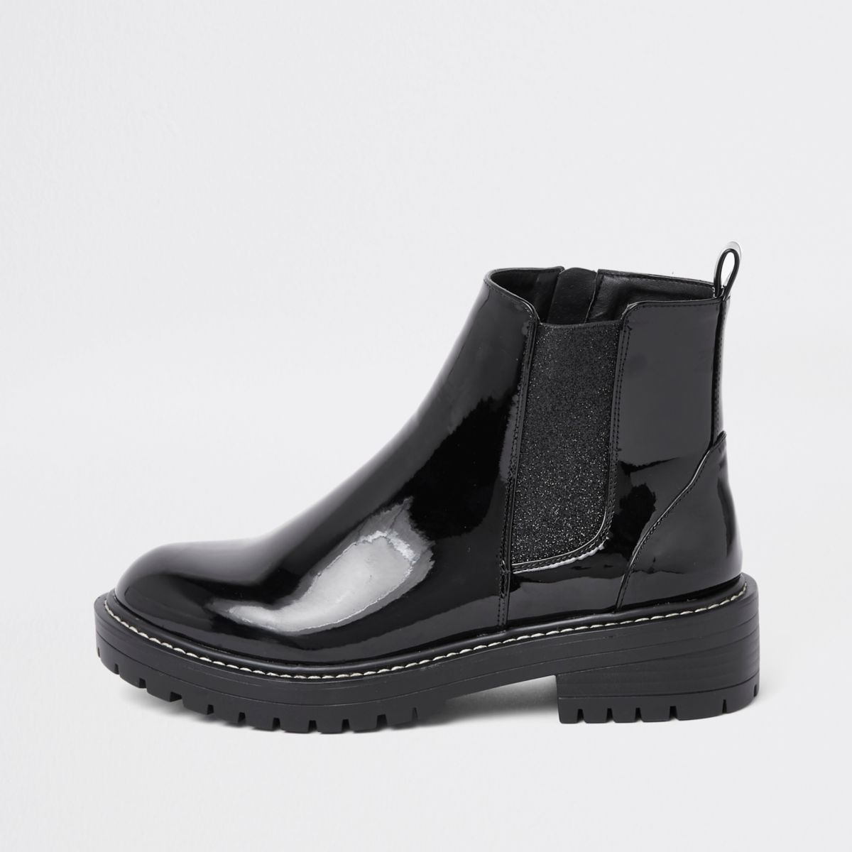Black patent glitter chunky ankle boots