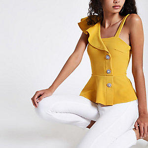 Yellow one shoulder button peplum hem top