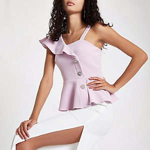Purple one shoulder button peplum hem top