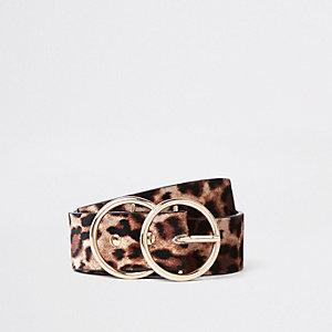 Ceinture à imprimé léopard beige avec double boucle