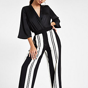 Black contrast stripe wide leg trousers