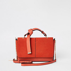 Orange flap front cross body bag