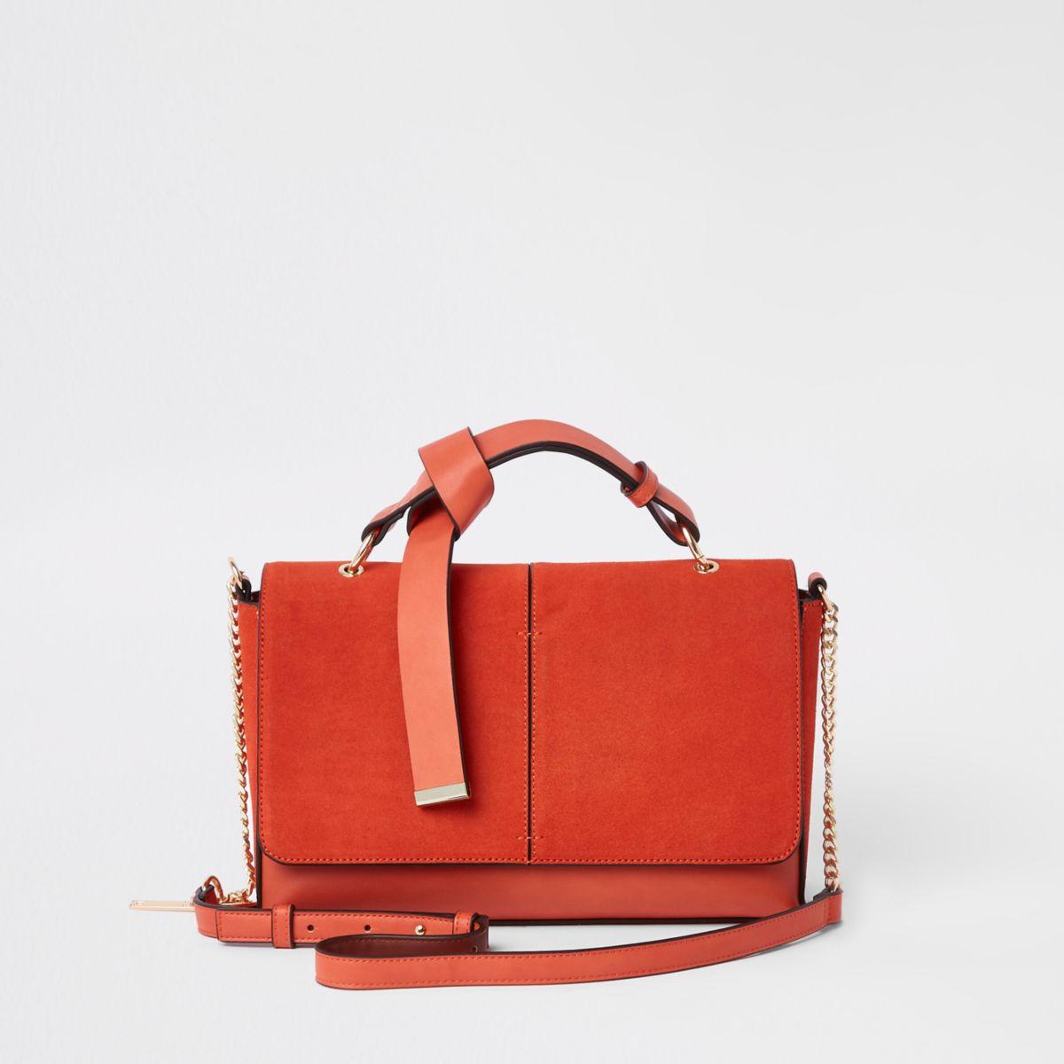 Orange flap front cross body bag