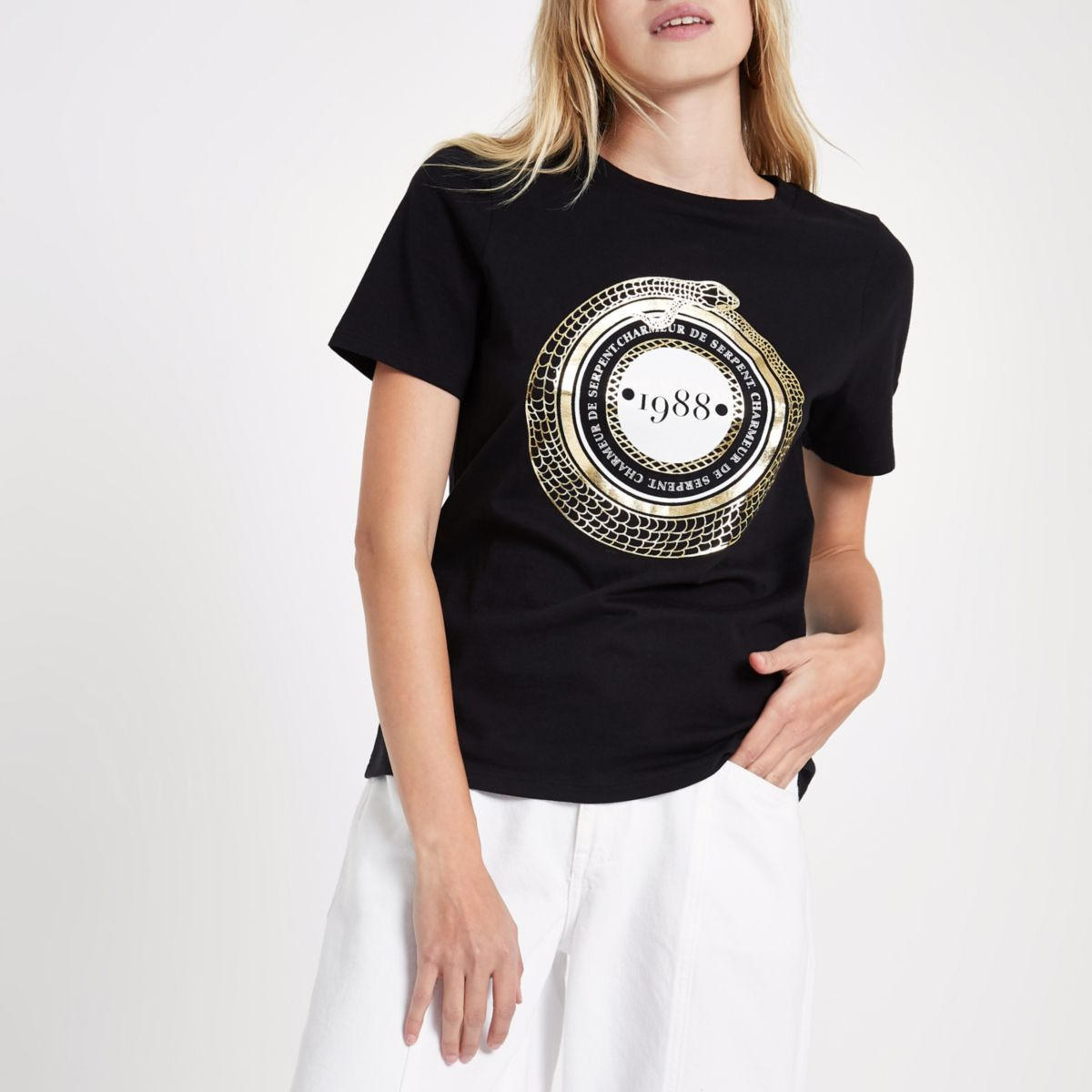 Black '1988' short sleeve fitted T-shirt