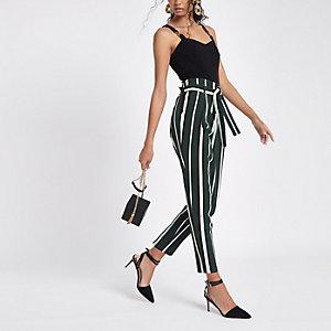 Green stripe tie waist tapered leg trousers