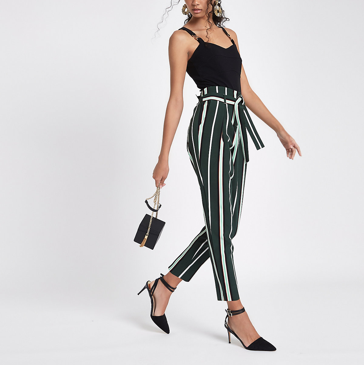 Green stripe tie waist tapered leg pants