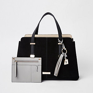 Black triple compartment tote bag