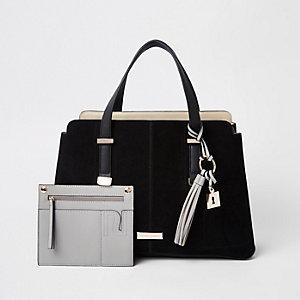 Schwarze Tote Bag mit drei Fächern