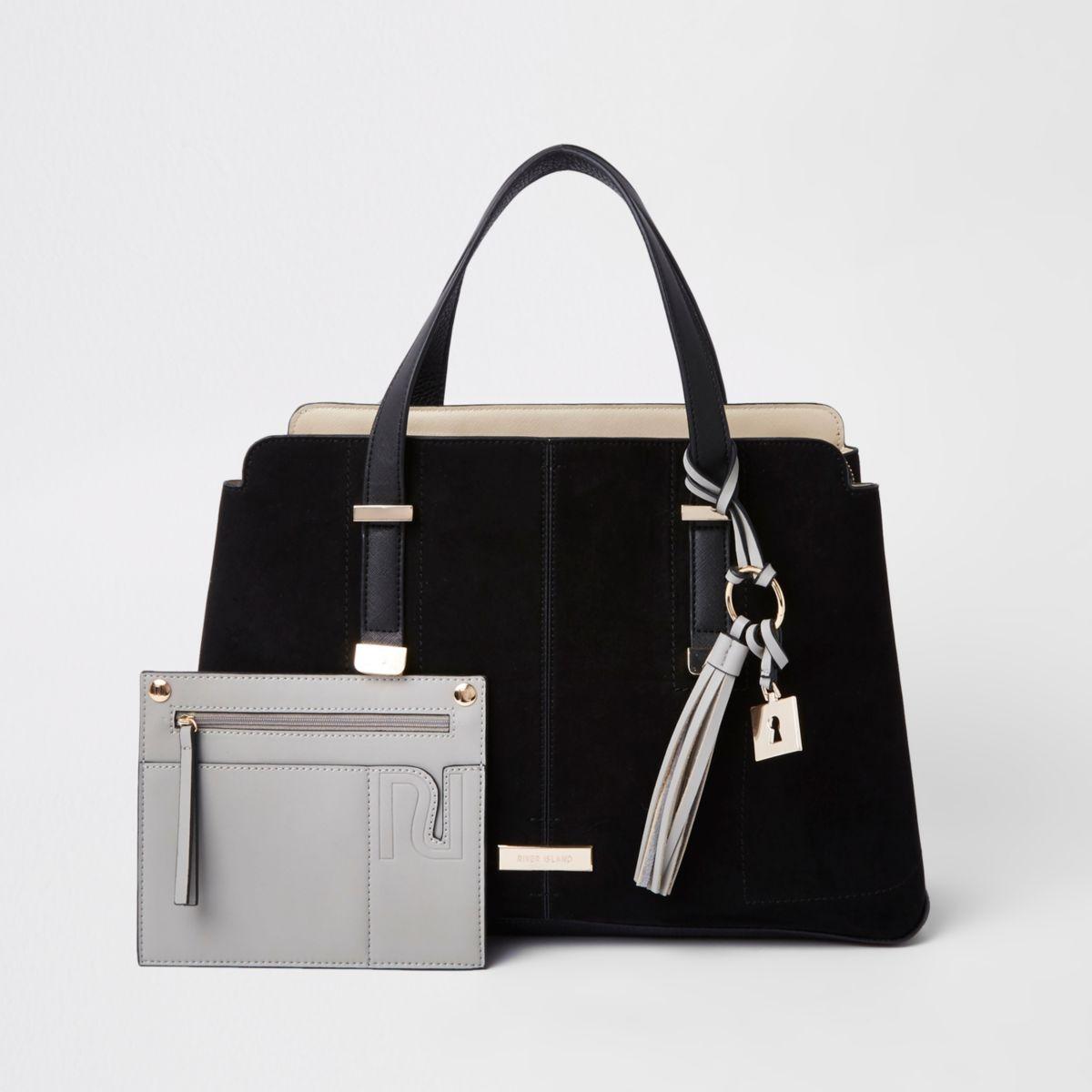 Black triple compartment tote bag