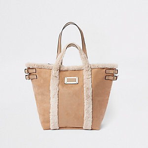 Beige suede fleece trim large shopper