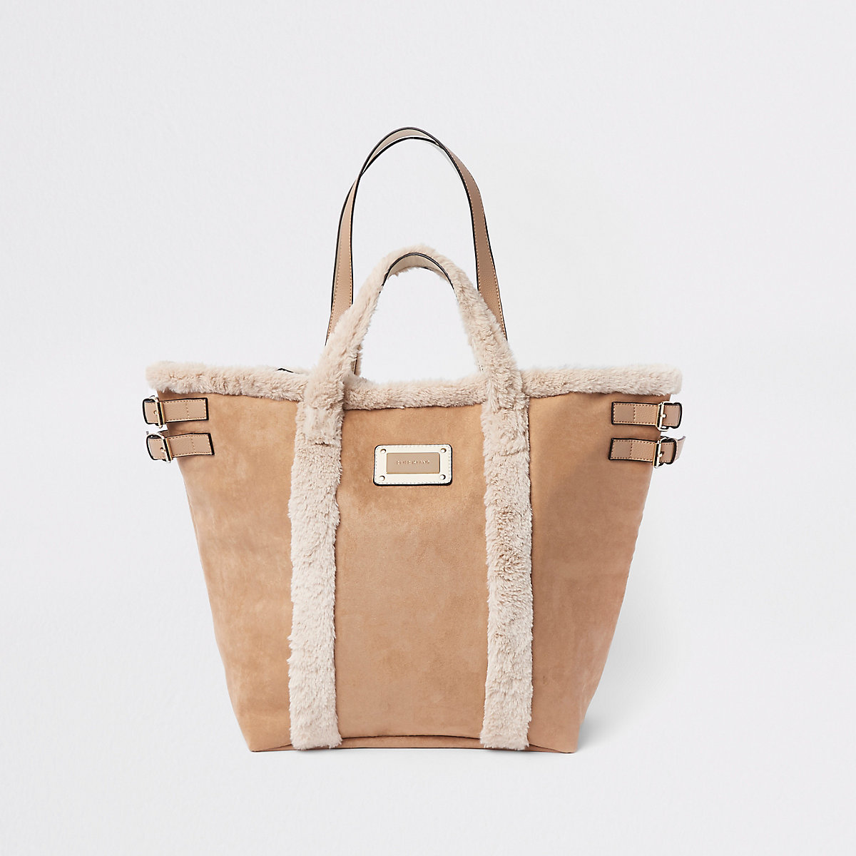Beige suede borg trim large shopper bag