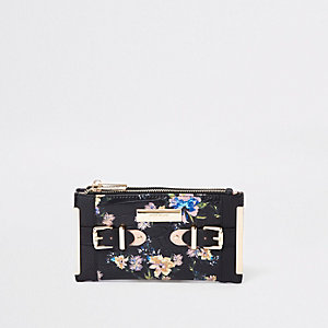 Black floral tab side foldout purse