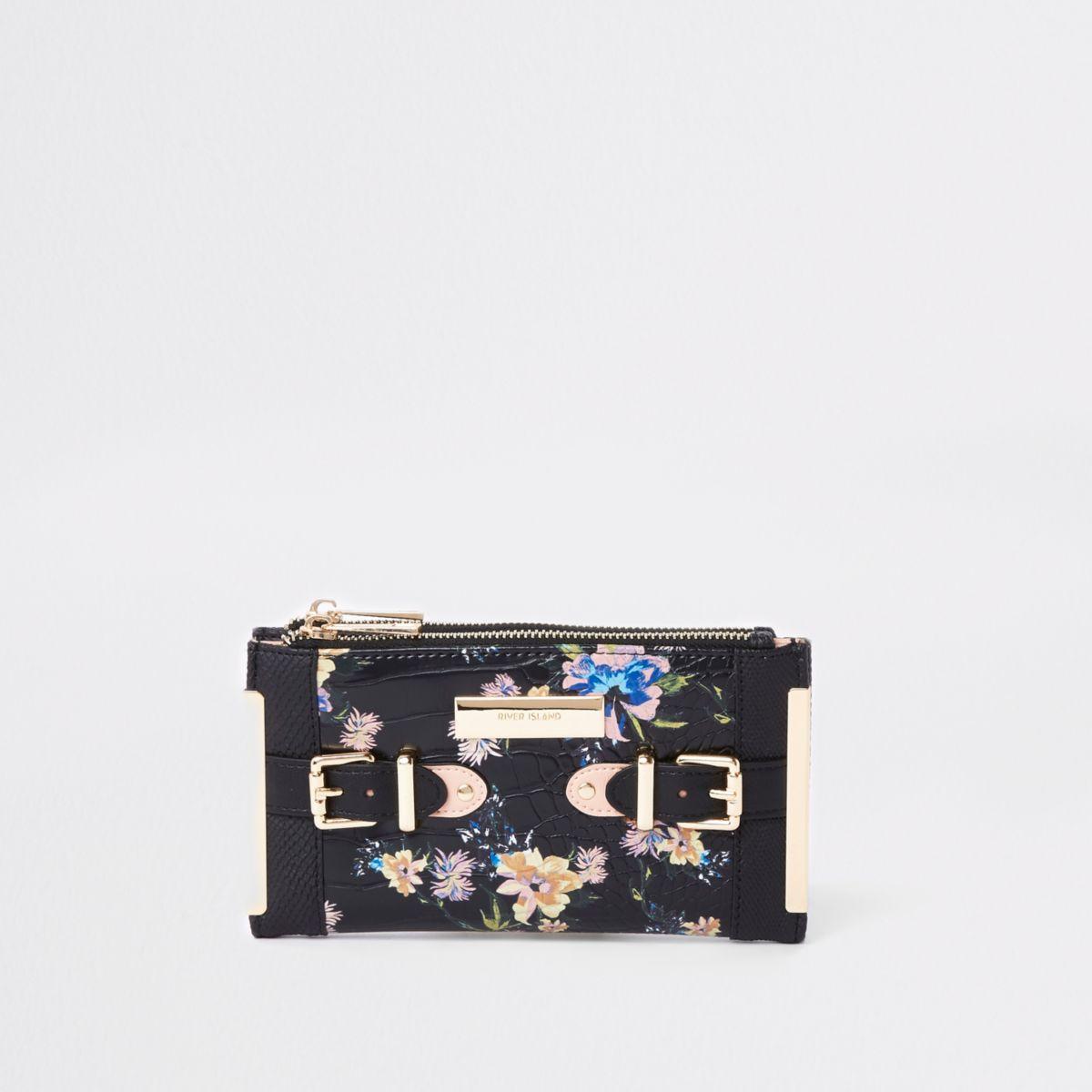 Black floral tab side foldout purse