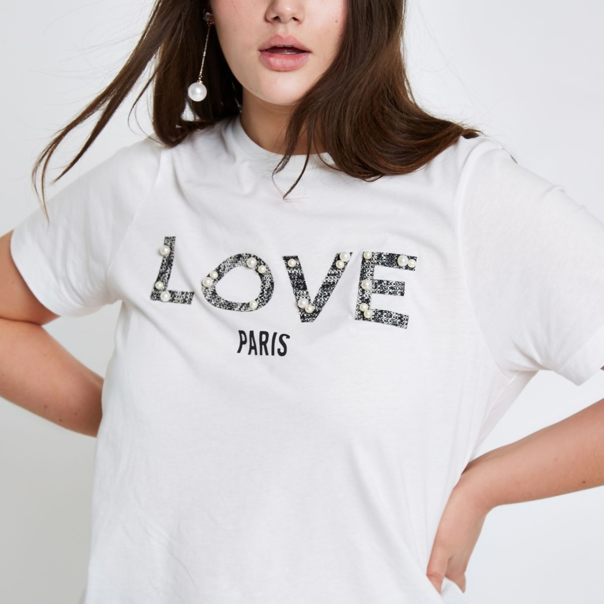 Plus white 'love' pearl embellished T-shirt