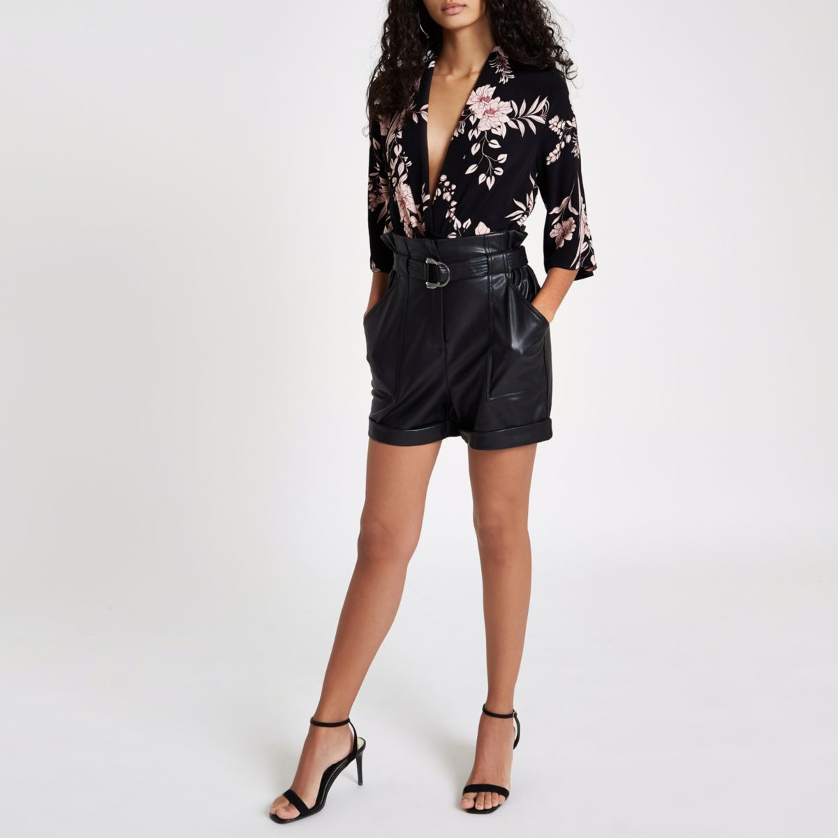 Black floral wrap bodysuit